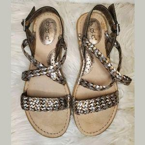 BORN BOC Dena Braided Strappy Sandal Bronze Silver
